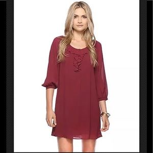 Forever 21 Ruffle Front Maroon Dress/ Tunic